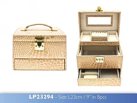 Big Champagne Jewellery Box Crocodile Skin Print with Mirror
