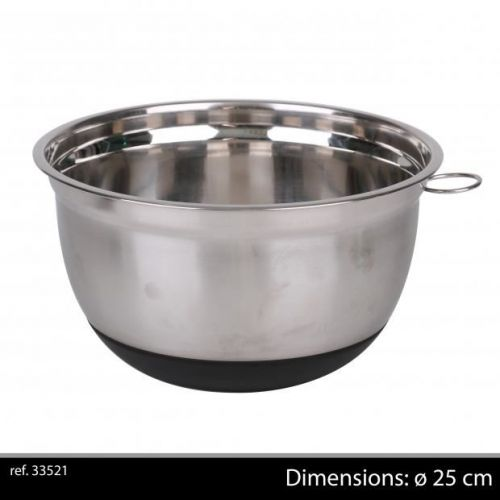 25Cm Chrome Mixing Bowl With Non Slip Base Black