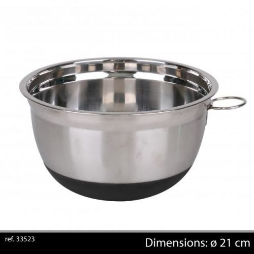 21Cm Chrome Mixing Bowl With Non Slip Base Black