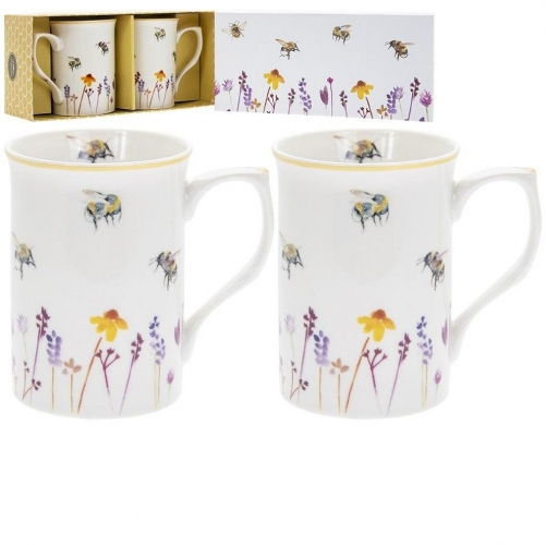 Busy Bees Set of 2 Fine China Mugs