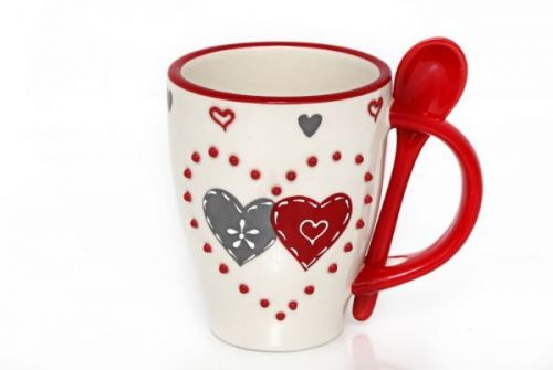 12.5x8.5cm Double Heart Mug & spoon Ceramic Red