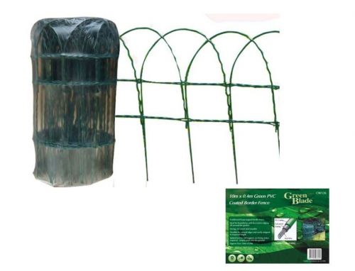 10m X 0.4m Green PVC Coated Border Fence Garden Edging Fencing Net