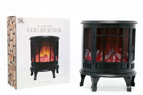 35cm Curved Flameless Fireplace Log Burner Lantern Home Decoration