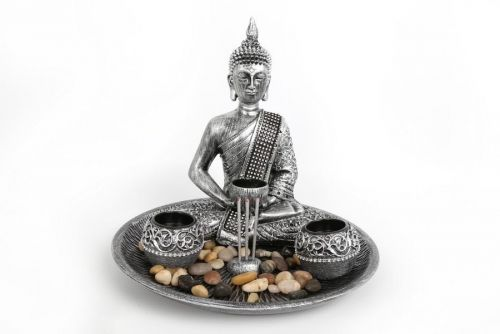 3Pc Buddha Tealight Holder With Tray And Stones Silver Polyresin Home Decoration