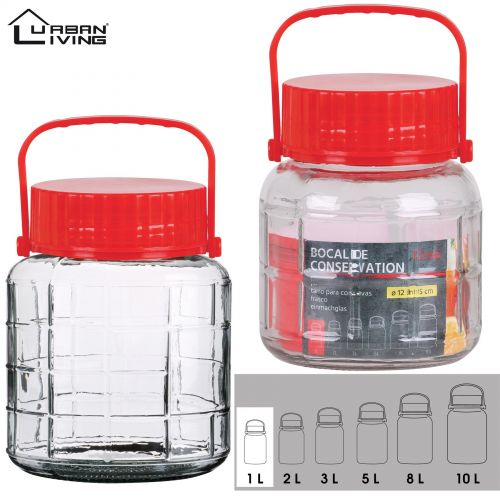 1L Glass Jar Food Preserve Seal-able Airtight Container With Red plastic lid