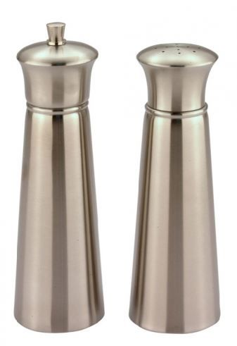 6.5 Inch Set Of Conical Stainless Steel Pepper Mill And Salt Shaker