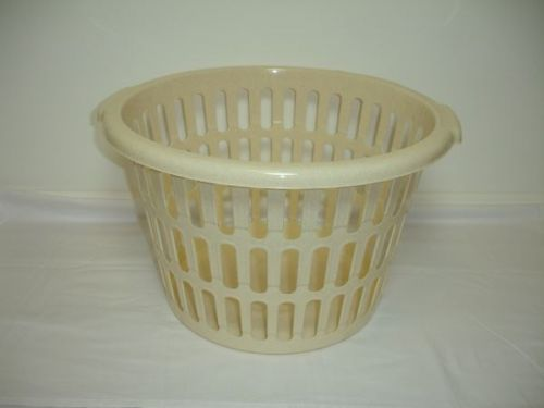 47cm Round Laundry Basket Plastic Oatmeal 32 Litres