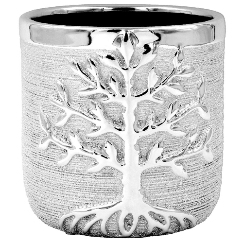 Large Silver Tree Of Life Planter Plant Holder Pot Metal