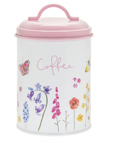 Butterfly design Enamel Metal Round Coffee Tin Storage