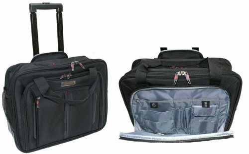 Aerolite Executive Wheel Laptop Bag Business Office Travel Cabin Case Black