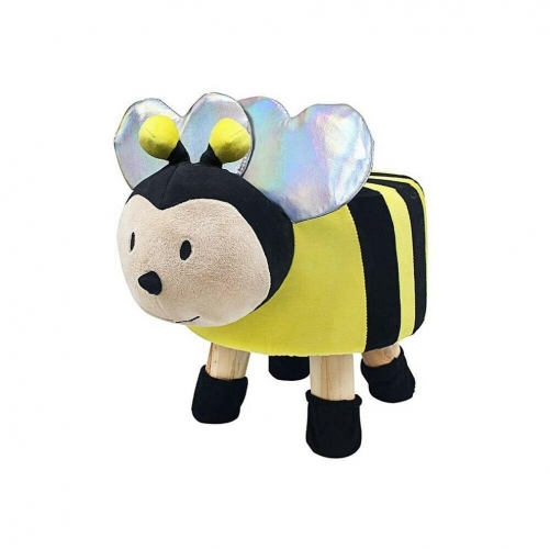 Bee Insect Design Round Stool Wooden Legs Childrens