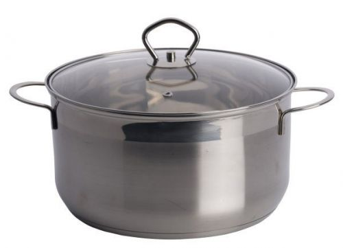Limetime Cooking 24cm Stainless Steel 6.0L Casserole Pan with Glass Lid