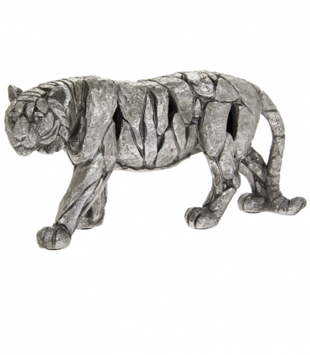 Natural World Tiger Decoration figure Home Ornament Stylish 30x15cm silver