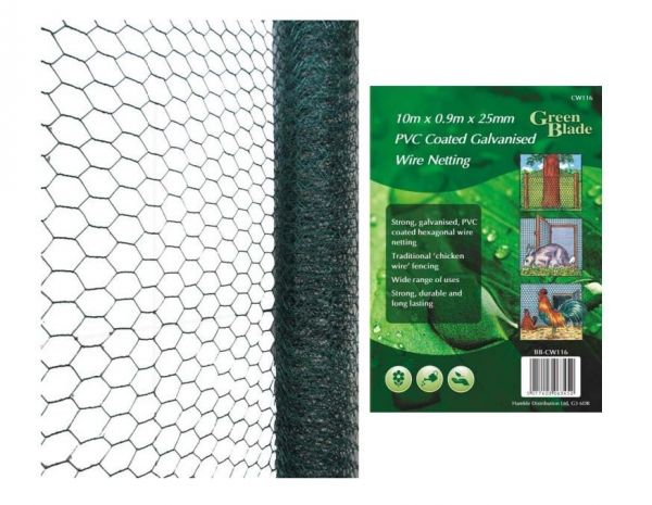 10m X 0.9m X 25mm PVC Coated Galvanised Wire Netting Chicken Garden Fencing