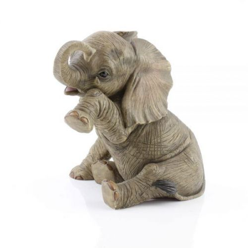 20Cm Resin Baby Elephant Sitting Teardrop Home Decoration Ornament Figurine