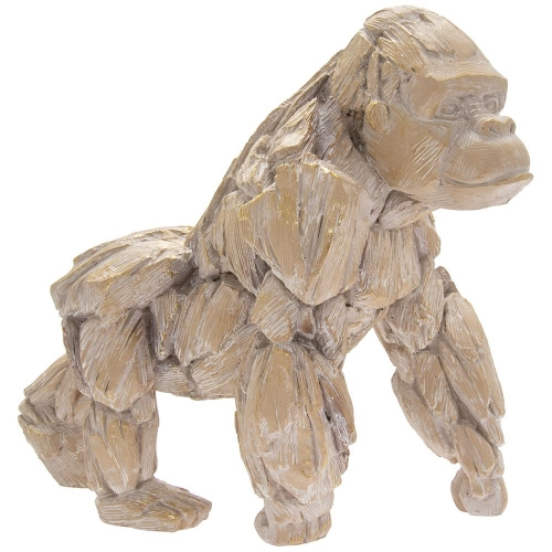 Driftwood Gorilla Resin Wooden Carved Effect Animal Statue Ornament