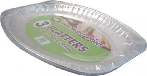 Medium 3pk Disposable Foil Platter for Serving Party Birthday Catering