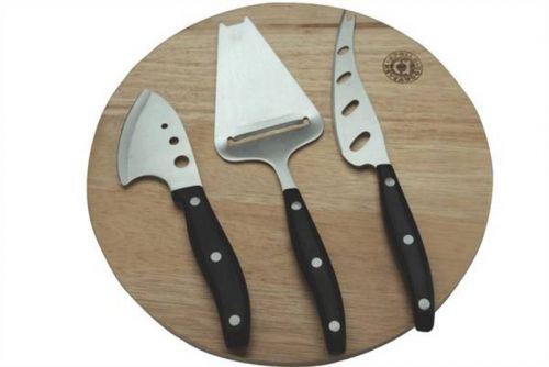 Rubber Wood Cheese Board with Tools