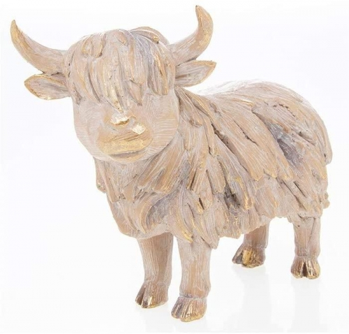 Driftwood Highland Cow Wooden Carved Effect Figurine Ornament