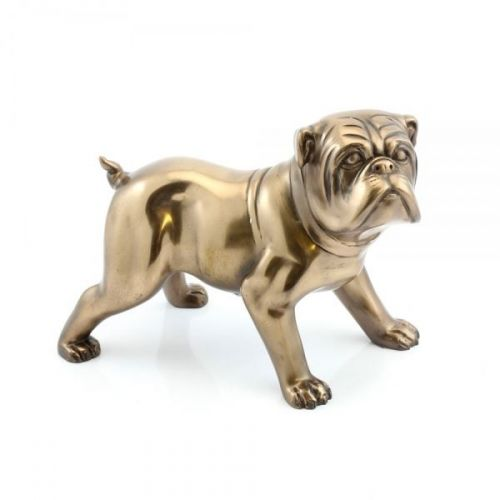 23Cm Bronzed Bulldog Figurine Resin Home Decoration Ornament