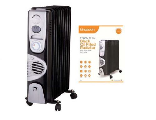 2.5Kw 11 Fin Black Oil Filled Radiator With Turbo Fan And 24Hr Timer