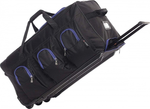 5Cities Large Rolling Holdall bag with wheels Black Blue 102L