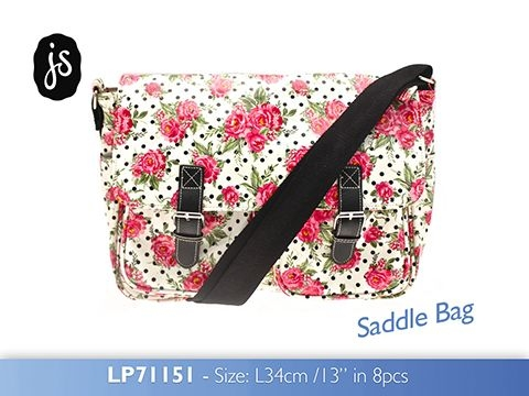 Roses Saddle Bag made from Oilcloth by Jessie Steele