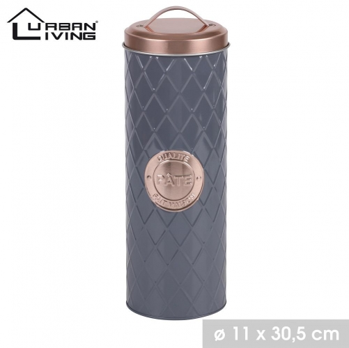 Copper Lid and Grey Pasta Tin Box Canister Modern Design