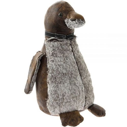 Heavy Penguin Decorative Fabric Doorstop Brown And Grey 35Cm