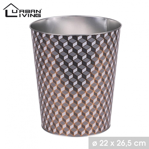 Grey and Gold Bistro Style Metal Office Waste Paper Basket Bin