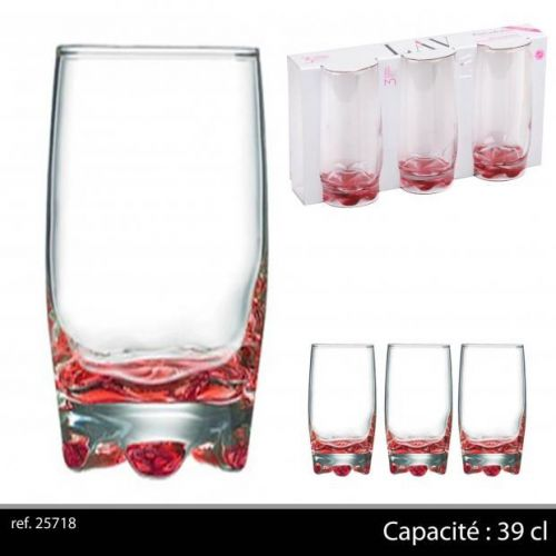 3Pk Hi Ball Glasses 39Cl Red