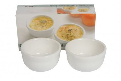 2 Piece Ramekin Set White Porcelain Serving Bowls