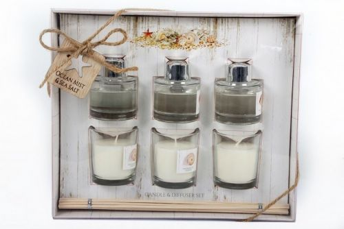 6 Pcs Sealife Aroma Gift Set 3 Candles And 3 Scented Diffusers Ocean Mist And Sea Salt Fragrance