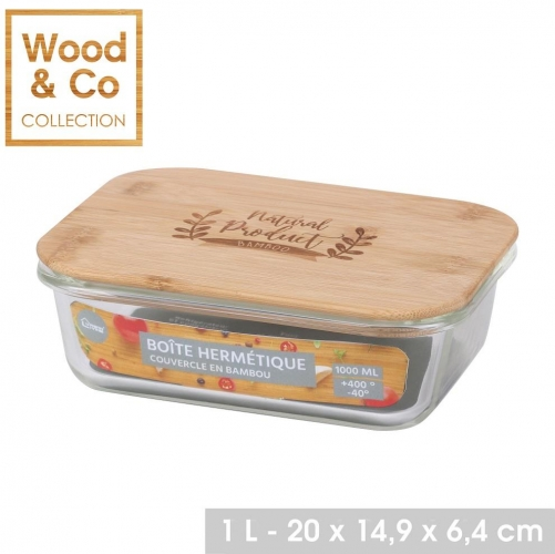 1000ML Air Tight Glass Food Container With Bamboo Lid