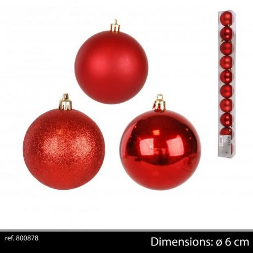 10Pk Christmas Baubles Red D6