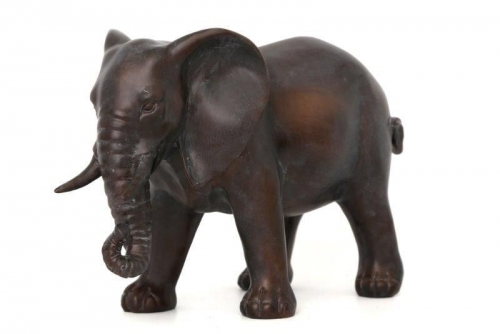 32Cm Bronze  Colour Standing Elephant Home Office Decoration