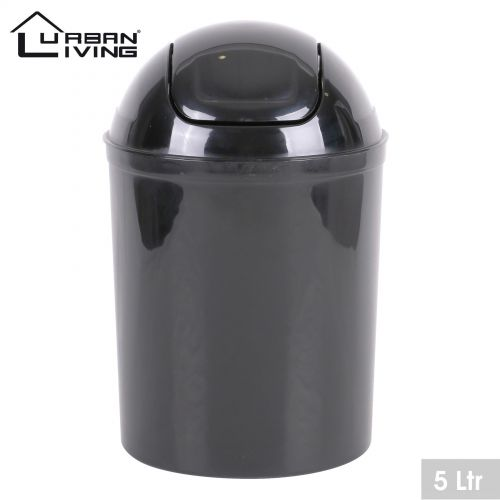 Black Plastic 5 Litre Mini Swing Top Lid Waste Bin Office Home Bathroom Toilet