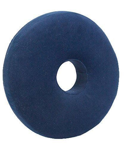 Round Memory Foam Pressure Relief Cushion with Soft Cover Blue Dia 38cm Ring Shape