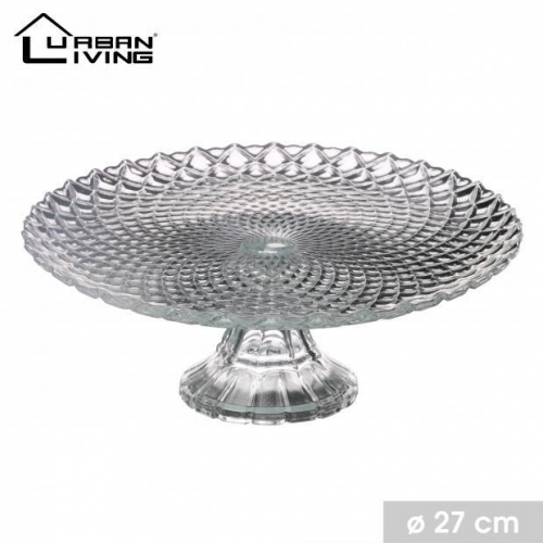 27cm Glass Pie Fruit Plate Round on Glass Base