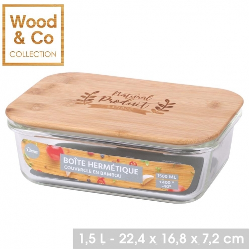 1500ML Air Tight Glass Food Container With Bamboo Lid