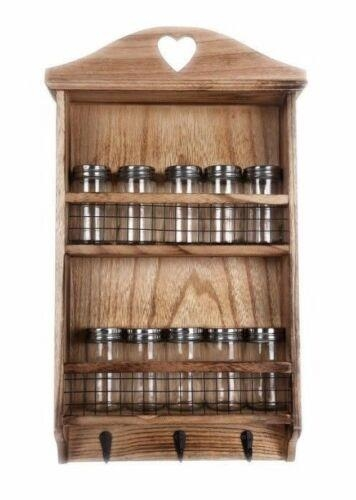 10 Pieces Spice jars With Wooden Spice Wall Rack
