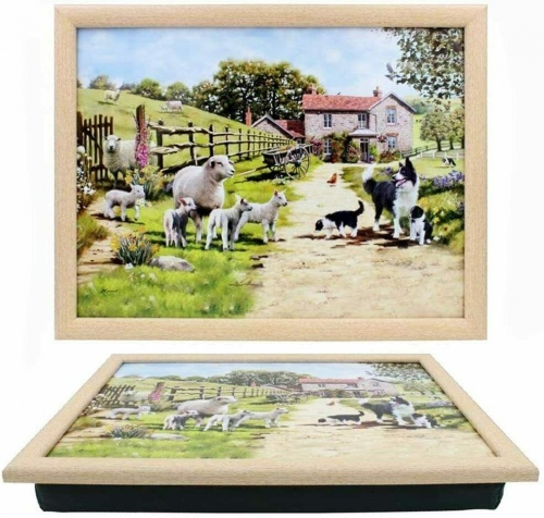 Sheep and Border Collie Countryside Bean Bag Lap Tray