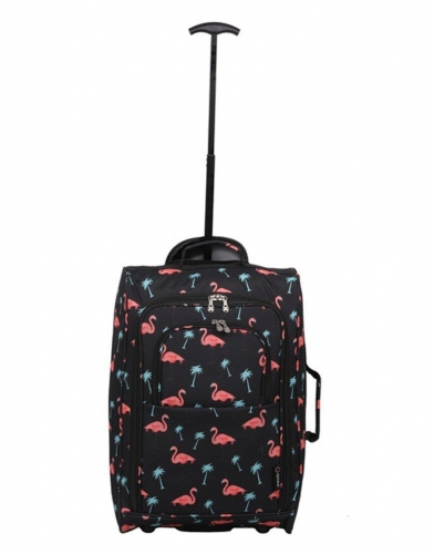 5 Cities Cabin Luggage trolley 55x35x20cm 42 liters Flamingos black