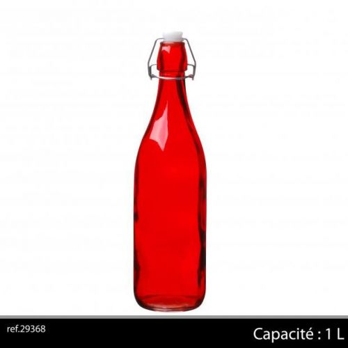 1Ltr Glass Bottle Red
