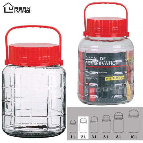 2L Glass Jar Food Preserve Seal-able Airtight Container With Red plastic lid