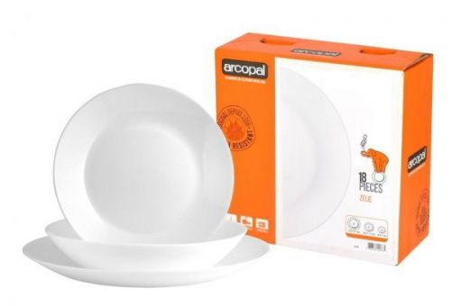 Arcopal 18pcs Zelie White Dinner Set Dinner Soup Side Plates