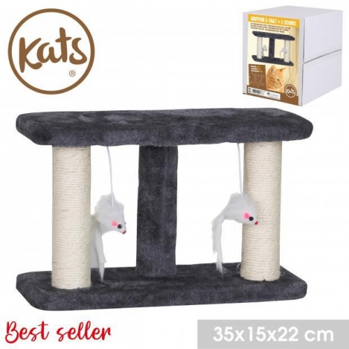 Double Cat Scratching Pole Hanging Toy Mouse