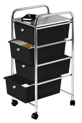 4 Tier Plastic Drawers with Chrome Frame Black