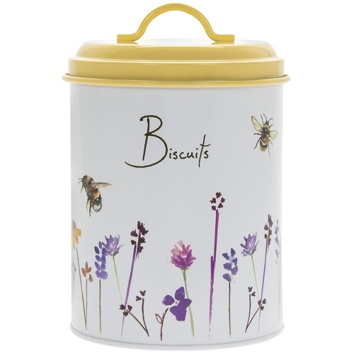 Retro Style Busy Bees Round Biscuits Canister
