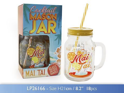 500 Ml Cocktail Mai Tai Glass Mason Jar With Handle Lid And Straw